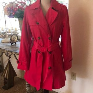 Isaac Mizrahi bright pink raincoat